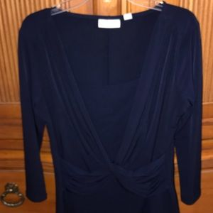New York & Co Navy draped blouse. Worn once.